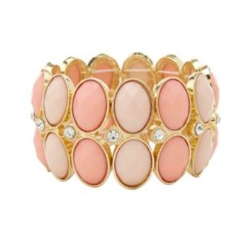 Pale Peach Two-Toned Gem Stretch Cuff Bracelet by Charlotte Russe