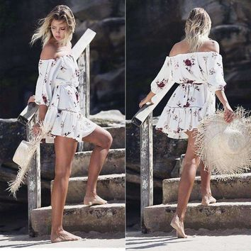 SHIPS FROM USA Off Shoulder Dress Chiffon Women Boho Clothing Hippie Chic Floral