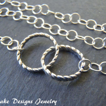 sterling silver interlocking circle necklace eternity necklace sister gift