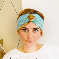 Mint Green with Mustard StripesTurban Headband, Boho Headband, Hairband for Woman and Girls