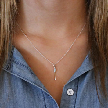 Arrow Necklace - Sterling Silver Vertical Arrow Necklace -Arrow Pendant -Silver Layering Necklace -Bohemian Arrow -Arrow Jewelry -Boho Style