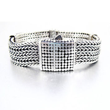 Sterling Mens Foxtail Chain Bracelet. Four Wide Classic Chain Bangle. John Hardy Dot Collection Style. Unisex Sterling Bracelet. 108 Grams.