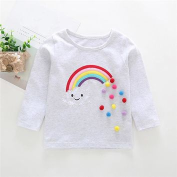 Winter Baby Clothes Baby Girls Tops And Tees Toddler Kids Baby Girls Long Sleeve Rainbow Applique T-Shirt Top Clothes AU09#F