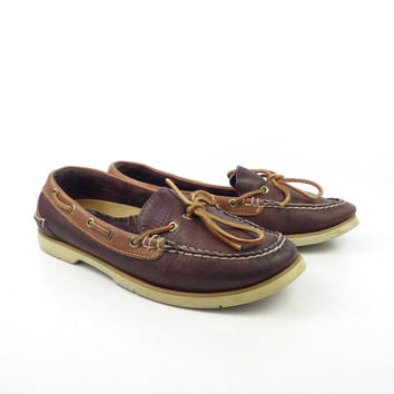 Sperry Boat Shoes Vintage 1980s Distressed Brown Leather Lace up Topsider Women's size 8 1/2
