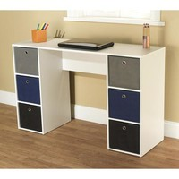 Student Writing Desk with 6 Fabric Bins, Multiple Colors - Walmart.com