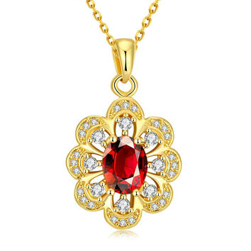 Gold Plated Circular Ruby Necklace