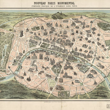 Paris, France (1878) Europe- (Antique, Old Map Reproduction ) =Print is Perfect for Framing!