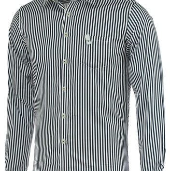 Vertical Stripe Turn-Down Collar Long Sleeve Shirt with Pocket
