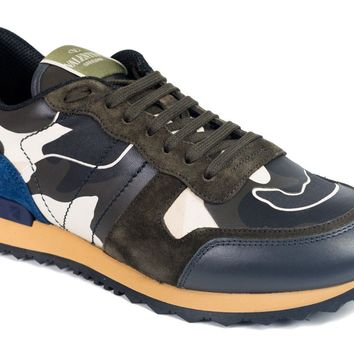 Valentino Mens Navy Camouflage Leather Rockrunner Sneakers