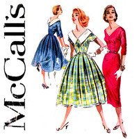 1950s Dress Pattern Bust 32 McCall's 3656 Full Skirt Dress or Sheath Dress Day or Evening Box Pleats V Neck Womens Vintage Sewing Patterns