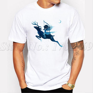 2017 Newest Men's Fashion Elf Archer Printed T-Shirt Summer Cool Tops Fashion Ink Washing painted Tees