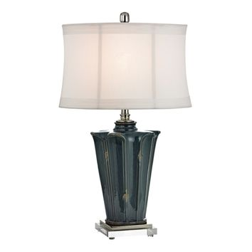 Distressed Blue Glaze Ceramic Table Lamp With Crystal Base And Polished Nickel Accents