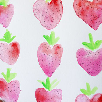 Strawberry pattern watercolor / bright wall decor / fruit print wall art