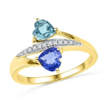 10kt Yellow Gold Womens Heart Lab-Created Blue Sapphire Aquamarine Heart Ring 1.00 Cttw
