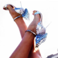 Stylish heel cute butterfly wings sexy wristband stiletto heels fashion sandals