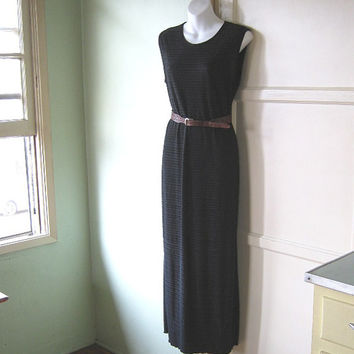 Basic black maxi dress; medium - Work/cocktail/bohemian shirred black column dress - Black cruise dress - Maxi travel - Black career dress