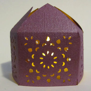Purple Handmade Moroccan Middle Eastern Paper Wedding Lantern with LED Battery Tea Light Candle Event Decor - Party Favor - Lighting