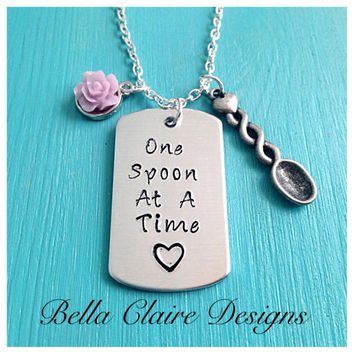 Chronic Pain Necklace, Fibromyalgia necklace, Lupus necklace, Spoon theory necklace, One Spoon At A Time necklace, chrinuc pain awareness ne