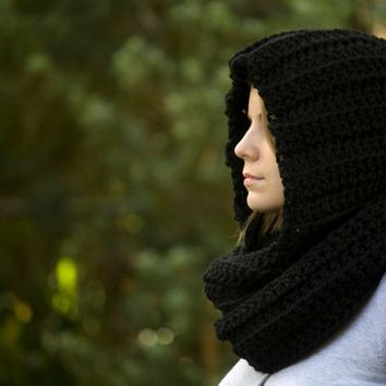 Black Hooded Scarf, Black Scoodie, Crochet Scarf with Hood