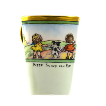 Patsy Twins and Pan Cup Vintage Child's Cup Hand Painted Book Characters Don Hewitt Farm Landscape Collectible Cup