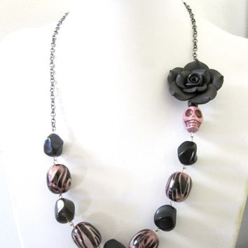 Sugar Skull Necklace Day of the Dead Jewelry Lilac Black