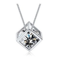CAETLE®Korea Women's Cute 925 Sliver Rhinestones Christmas Necklace N023