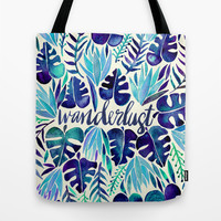 Tropical Wanderlust – Blue Tote Bag by Cat Coquillette