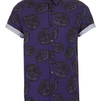 Purple Tiger Print Short Sleeve Shirt - Sale Shirts - Clearance - TOPMAN