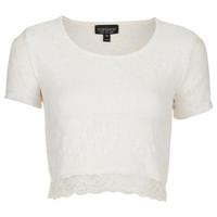 Short Sleeve Lace Crop Top - Topshop USA