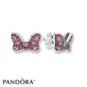 PANDORA Earrings Disney, Minnie's Sparkling Bow/St. Silver
