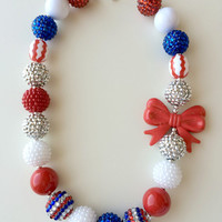 FREE SHIPPING - Phillies or 4th of July Chunky Bubblegum Necklace with Bow
