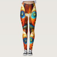 Cute fun wild fierce carved wood totem face photo leggings