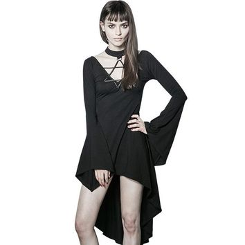 Gothic Punk Women's Sexy Mermaid Black Dark Vintage Flare Sleeve Asymmetric Dress All-match Female Mini Dresses Summer clothing