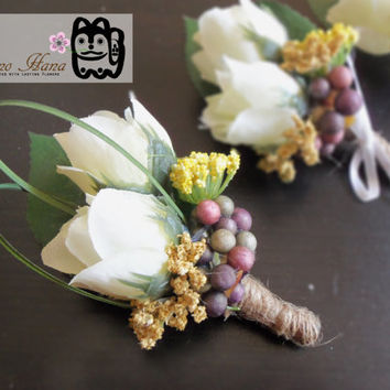 Boutonniere . White Silk Mini Roses . Berries . Yellow Accent Flowers . Rustic . Groom . Groomsmen . Wedding