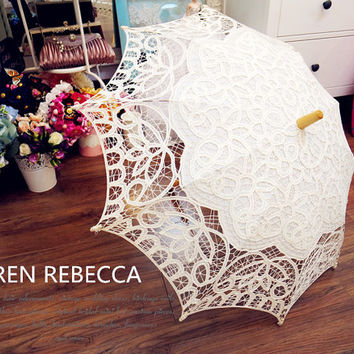 New Pattern Ivory Battenburg Lace Vintage Umbrella Parasol For Bridal Bridesmaid Wedding