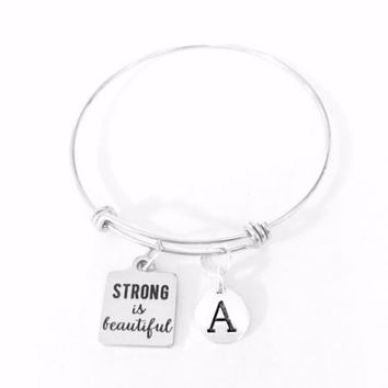 Strong Is Beautiful Initial Friend Mom Gift Adjustable Bangle Charm Bracelet