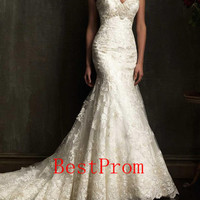 Custom 2014 style wedding dress / lace wedding dress / beads wedding dress / applique wedding dress / custom wedding dress / mermaid dress