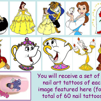 60 x Finger / Toe Nail Art Decals Beauty And The Beast Disney Princess Chip Mrs Pots Candle Stick Clock & Free Gift
