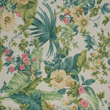 Mid Century Upholstery Fabric | Tropical Decorator Fabric | Vintage Heavy Fabric | Pillow Fabric | Quilt Material | Green Pink Decor