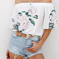 Sexy Off Shoulder Random Floral Print Top from mobile - US$13.95 -YOINS