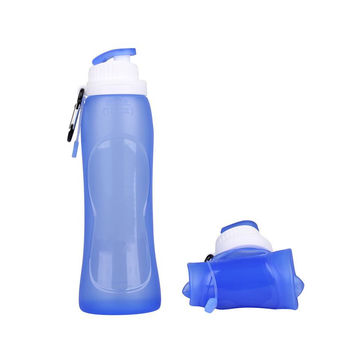 500ml Eco-Friendly Silicone Travel Sport Flexible Collapsible Water Bottles Foldable Drinkware