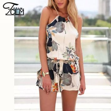 2016 Women Summer Sexy Cotton Jumpsuits Floral Printed Jumpsuits Strap Romper  Backless Halter Cotton Playsuits  BM-C1879