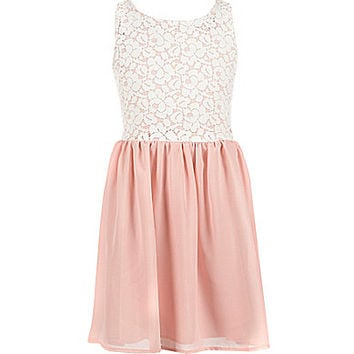 Honey and Rosie 7-16 Lace-Overlay-Bodice Chiffon-Overlay-Skirted Dress | Dillards.com
