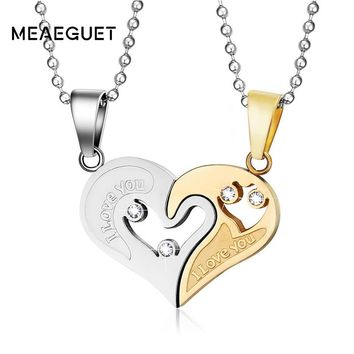 Meaeguet Gold-color Stainless Steel Chain Heart Love Necklaces For Couples Female Fashion Trendy Paired Suspension Pendant