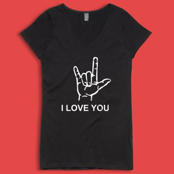 I Love You American Sign Language Valentines Day Women'S V Neck