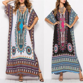 Women African Ethnic Print Kaftan Maxi Dress Summer Loose Vintage Boho Beach V-neck Batwing Sleeve Long Dress