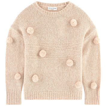 Girls Nude Knitted Sweater with Pom Pom's