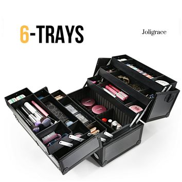 "Makeup Case 6 Trays Large 14"" x 8.5"" x 11"" Premium Professional Train Cases Cosmetic Carrying Box Lockable Organizer Storage by Joligrace - Black"