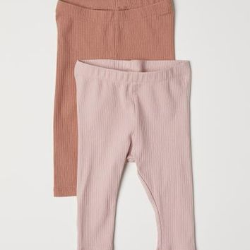 2-pack Ribbed Leggings - Dark beige/powder pink - Kids | H&M US