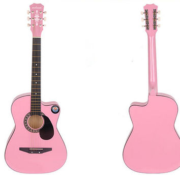 New Professional Acoustic Callaway Folk 38 inch  Guitar STAGE ESSENTIALS Pink